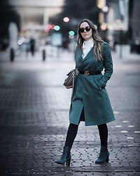 Morgan Schadegg - Goodwill Trench Coat, Christian Louboutin Boots - Belted trench