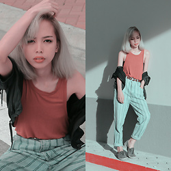 Janine Ramos - Mom Pants, Forever 21 Top - Orange and Lines