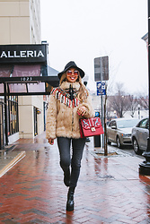 Eliza Romero - Brixton Black Floppy Hat, Zara Faux Fur Embroidered Coat, Free People 70s Rose Tinted Glasses, Aldo Red Top Handle Crossbody Bag, Levi's® Black High Waist Skinny Jeans, Jeffrey Campbell Shoes Black Platform Boots - Singing In The Rain