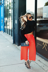 Beatrice Balaj - Alexander Mcqueen Neon Orange Wide Leg Pants, Zara Crop Top Sweater, Saint Laurent Ysl Bag - A-WANG