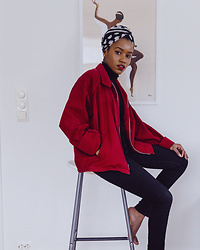 Angélique C. - Beyond Retro Red Overshirt, Primark Black Turtleneck, H&M Black Skinny Jeans, Bik Bok Polkadot Cotton Scarf - LUNAR NEW YEAR