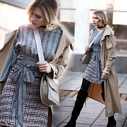 Dora D. - Nude Trench Coat, Checked Wrap Blouse, Tweed Mini Skirt, Over The Knee Suene Boots - Step into the spring