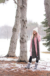BG by Christina L - Bearpaw Textured Knit Scarf, Rosegal Pink Sweater Dress, Forever 21 Cream Knit Pom Beanie, Modcloth Black Tights, Bearpaw Gray Lace Up Snow Boots - A Snow Day Look