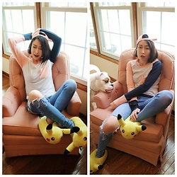 Fei Chung - Hot Topic Pikachu Slippers, Zara Jean, Exlura.Fashion Kawaii Top - Pink