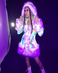 Paris Sinclair - Jvalentine Light Up Faux Fur Coat - Shine Bright