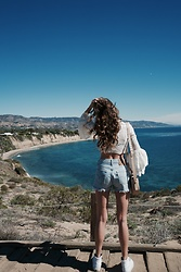 K-laa White - Forever 21 Bell Sleeve Lace Top, Levi's® Vintage Levis Shorts, Vans White High Top, Skagen Lobelle Saddle Bag - Lost at sea