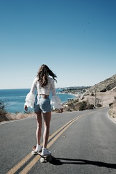 K-laa White - Forever 21 Lace Bell Sleeve Top, Levi's® Vintage Levis Shorts, Vans White High Top - Feels like forever