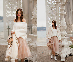 Viktoriya Sener - Chic Wish Sweater, Chic Wish Coat, Chic Wish Skirt - Cream and white