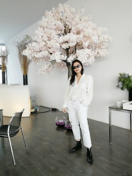Tneale Williams - Poppy Divine White Blouse, The Fix White Boyfriend Jeans, Zara Patent Boots, Unknown Eyewear Cat Eyes Sunglasses - Hanging tree.