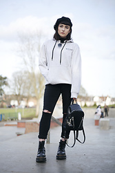 Amy Souter - Nicce Birch Grey Hoodie, Boohoo Black Jeans, Dr. Martens Dr Marten X Lazy Oaf Jungle Boot, Amazon Black Beret, Primark Pvc Backpack - NICCE LONDON