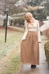 BG by Christina L - Tobi Bell Sleeve Bodysuit, Thrifted Tan Maxi Skirt - A Monochromatic OOTD