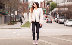 Maria P - Wyldr Faux Fur Jacket, Mott & Bow Washed Black Skinny Jeans - Faux fur & studs
