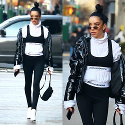 Claudia Salinas - Paco Rabanne Sports Bra, Robbery & Fraud Tiny Sunglasses, Paco Rabanne Leggings, River Island Patent Puffer Jacket, Prada Nylon Fanny Pack, Balenciaga White Knife Booties, Y Project Ruched Turtleneck - 2.19.18