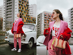 Andreea Birsan - Red Faux Fur Coat, Printed T Shirt, Pink High Waisted Trousers, Mini Leather Tote, Pink Blazer, Pink Tinted Aviator Glasses, Heart Hoop Earrings - Pink and red