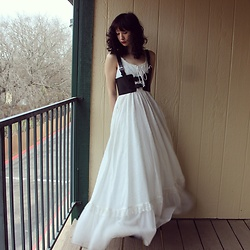 "Michelle Blue - Gunne Sax Vintage Eyelet Maxi Dress, Pleather Harness - ""The Poor Groom's Bride Is A"""