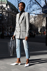 Rachel O. - Aldo Hoop Earrings, Zara Checked Blazer, Mango Plastic Bag, Zara Cropped Jeans, Zara Mules - LFW Day 1 Outfit