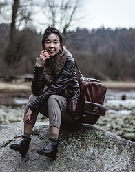 Gabby Chia - Newchic Boots, Merlain Bag, H&M Fur Collar Leather Jacket - The Inlet