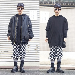 @KiD - (K)Ollaps Electronica, Cheap Monday Oversized Tee, Rothco 6xl Bomber, Checker Pants, Puma Hussein Chalayan - JapaneseTrash314