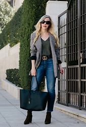 Meagan Brandon - Similar Blazer, Tee, Belt, Straight Leg Jeans, Saint Laurent Tote, Sock Boots - Plaid Blazer & Olive Accents