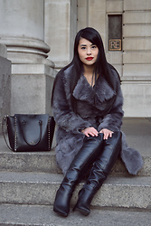Tingette - Valentino Rockstud Smooth Leather New Tote - DIY Shearling Fur Coat