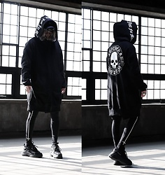 INWON LEE - Byther Black Logo Hoodie, Byther Reverse Cross Leggings, Byther Big Square Silver Ring - Not for the Public