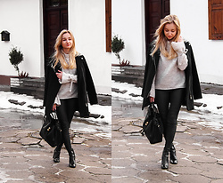 Dalena Daily - Coat, Sweater - SIMPLE GREY