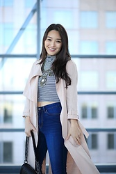 Kimberly Kong - Amiclubwear Striped Crop Top, Aeropostale High Waisted Jeans, All Saints Blush Jacket - Find of the Day: The Striped Crop Top ($7.99)