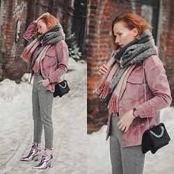 Anna Jaroszewska - Cropp Pink Jacket, Mango Bag, Cropp Pants, Public Desire Metallic Shoes - GOODBYE WINTER