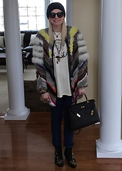 Shannon D - Elizabeth And James Fur Coat, Hermès Bag, Chloe Boots, Vintage Janis Joplin Tee, Louis Vuitton Necklace, Chrome Hearts Necklace, Lanvin Bracelet - Fur Sure!!