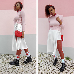 Yara Snow'z - Forever 21 White Pleated Skirt, Zara White Socks With Red Stripes, Pull & Bear Leather Boots, Primark Red Fishnet Tights, Bershka Pink Ribbed High Neck Sweater, New Yorker Lip Bag - Valentines Look