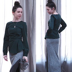 Claire H - Zara Emerald Blouse, Tally Weijl Long Skirt, Michael Kors Bucket Bag - Modern vintage look