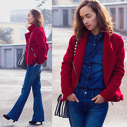 Iva K - Zara Bag, Stradivarius Jacket, Esprit Jeans - Red jacket & denim outfit