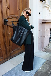 Anna Borisovna - Massimo Dutti Blazer, Mango Bag, H&M Pants, H&M Shoes - Green & Black
