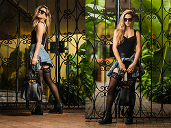 Caitlyn Sway - American Apparel Tricut Bodysuit, Denim Jacket, Lace Stockings, Ankle Boots, Black Shades - DAYWALKER