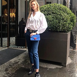 Anastasiia Masiutkina - H&M Shirt, Gucci Belt, Les Petits Joueurs Bag, Chloé Boots - Jeans and T-shirt time