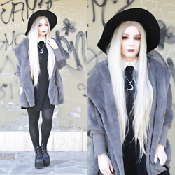 Federica D - Shein Grey Fur Coat, Shein Black Dress With White Collar - Soft