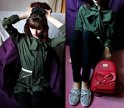 Sophia A - Gamiss Green Dress, Gamiss Silver Shoes, Gamiss Red Backpack - Girly