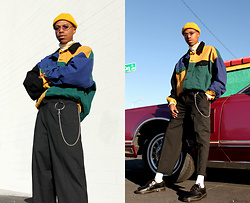 Dominic Grizzelle - Asos Colorblock Denim Jacket, Asos Fisherman Beanie, Asos Pleated Baggy Trousers, Dr. Martens Oxfords - Happy Saturday