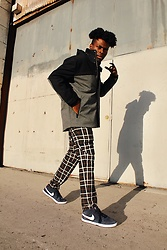 Vernon M. - Perry Ellis Colorblock Anorak Coat, Zara Plaid Trousers - Color Blocked & Plaid