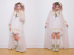 Lovely Blasphemy - Axes Femme Beige Dress, Axes Femme Fur Tippet, Angelic Pretty Wrist Cuffs - Poetry is the rhythmical creation of beauty in words