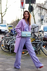 Malia Keana - Mango Oversized Coat, Massimo Dutti Blouse, Massimo Dutti Pants, Chanel Vintage Bag - Monocrome purple Chanel