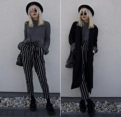 Emilia Frelichowska - Shein Drop Shoulder Chunky Knit Jumper, Shein Self Belt Striped Pants - Right On Schedule