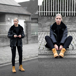 Nena F. - Timberland Boots, Zara Shearling Jacket, All Saints Jeans - All black + Timberland