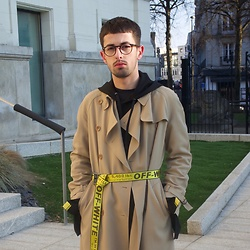 JeanbonBeurre - Marella Trench, Off White Belt, Topman Sweater - Off-White