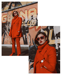 Wiktoria Celmer - Obaku Denmark Watch, Zara Red Suit, H&M Sock Heels, Zara Retro Sunglasses - MIAMI VICE