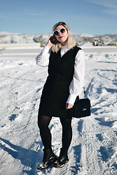 Elizabeth Claire - Erdem X H&M White Blouse, Target Black Dress, Dr. Martens, Clarks Black Patent Leather Bag - So Much Snow