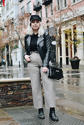 Elizabeth Claire - Mango Wide Leg Trousers, Mudd Faux Leather Jacket, Boohoo Black Roll Neck, H&M Greek Fisherman Hat, Asos Black Chelsea Boots, Clarks Black Patent Leather Bag - Uninspired