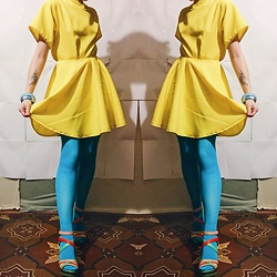 Nell Karasu - Handmade Yellow Dress, Aquamarine - Colors