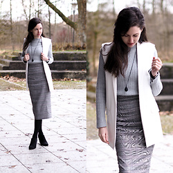 Claire H - Mango Vest, Ann Taylor Knit, Edited Skirt - Grey and check
