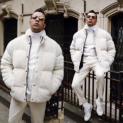 Franko Dean - Asos Puffer Jacket, Asos Trousers With Stripe, Puma Sneakers, Zara Sweater, Urban Outfitters Sunglasses - Ivory